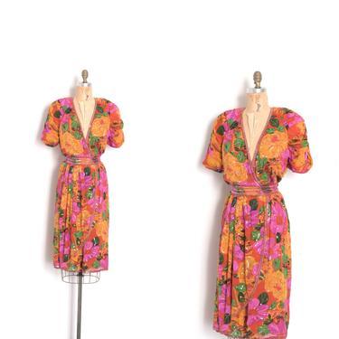 Vintage 1980s Dress / 80s Judith Ann Sequined Silk Dress / Pink Orange ( large L ) by lapoubellevintage