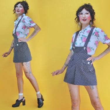 "Vintage 1960s 60s MOD Polka Dot Two Tone Micro Jumper High Waist Shorts Adjustable /WAIST 27""/ 1970s 70s Boho Glam College Rocker Beatnik by TheeAppleBoutique"