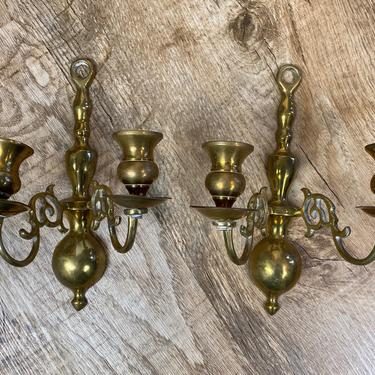 Vintage Brass Wall Scone Set of 2 with 2 Candle Wells Each by DesertCactusVintage