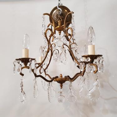 Petite Four Light Crystal and Brass Maria Theresa Chandelier