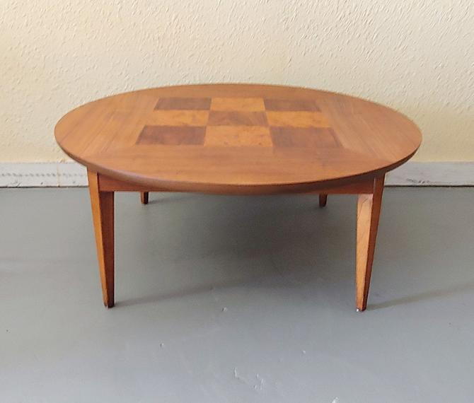 1957 Lane Round Burl Inlay Coffee Table by ModandOzzie