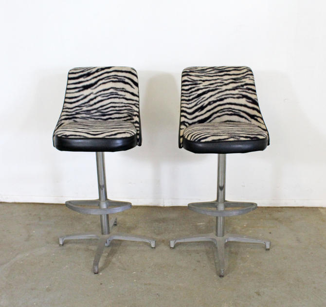 Pair of Mid Century Danish Modern Chromcraft Zebra Print Swivel Bar Stools by AnnexMarketplace