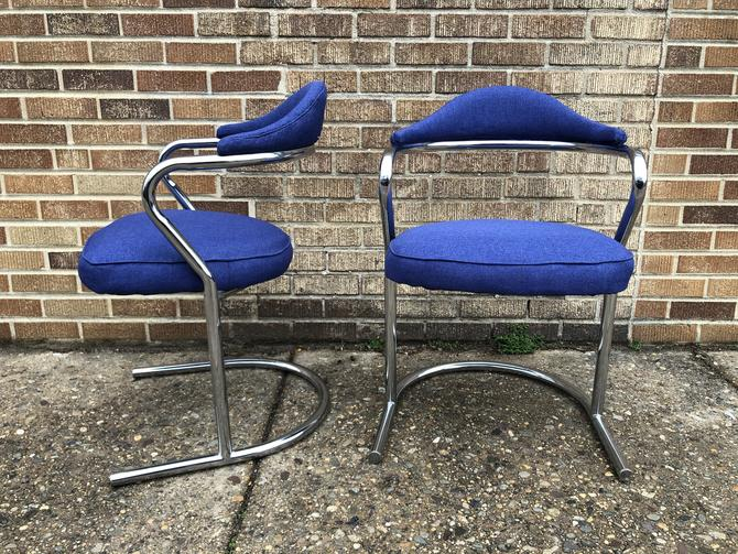 Chrome & Indigo Chair Pair