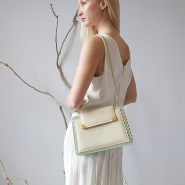 tainted pearl and green mid century leather bag by EELT
