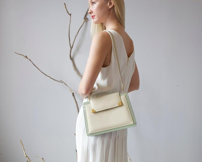 vintage tainted pearl and green mid century leather bag by EELT