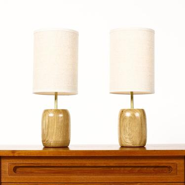 Studio Craft White Oak Table Lamps — Lathe Turned with Brass Detailing — Pair — TL6 by atomicthreshold
