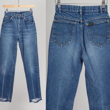 Vintage Lee Riders Jeans - XXS   80s 90s High Waisted Medium Wash Grunge Denim Tapered Mom Pants by FlyingAppleVintage