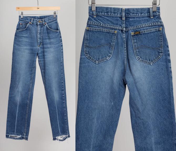 Vintage Lee Riders Jeans - XXS | 80s 90s High Waisted Medium Wash Grunge Denim Tapered Mom Pants by FlyingAppleVintage