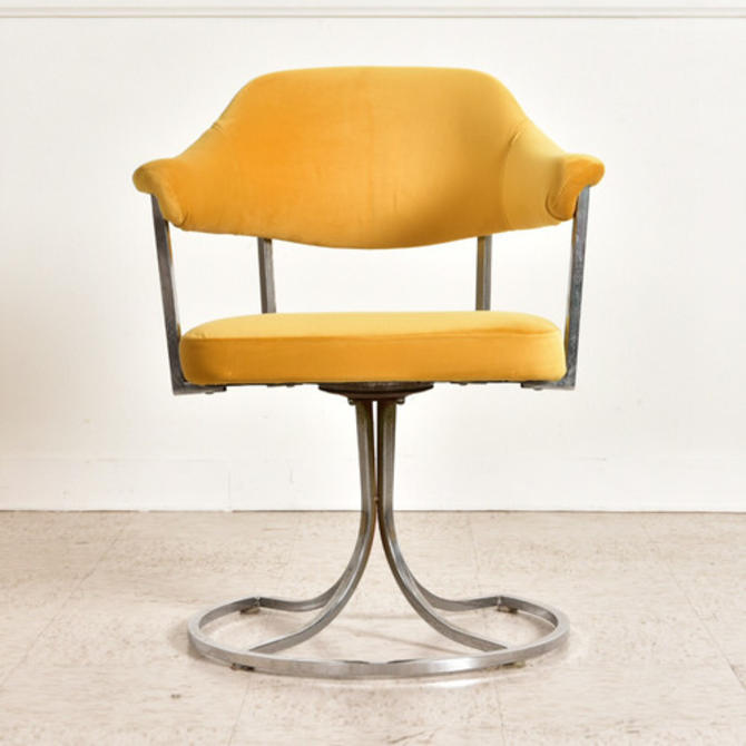1970's Vintage Yellow Chrome Chairs