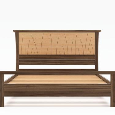 "Bed Frame Queen Size Walnut, Headboard, King, Full, Modern Scandinavian, Twin, California King, Maple, Inlay ""Prairie"" by NathanHunterDesign"