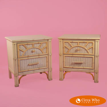 Pair of Faux Bamboo Woven Rattan Nightstands