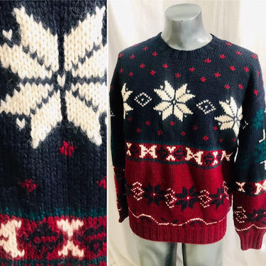 Wool Pull Over, Ski Sweater, Snowflake Design, Lord and Taylor, Chunky Knit, Vintage Excellent, Fits M-L by GabAboutVintage
