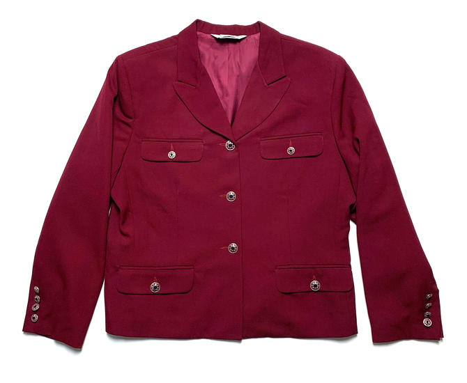 Vintage Austin Reed Women 39 S 100 Wool Gabardine Jacket Tagged 14 Fits M To L Petite Cropped Blazer Sport Coat Burgundy By Sparrowsandwolves From Sparrows Wolves Of Seattle Wa Attic