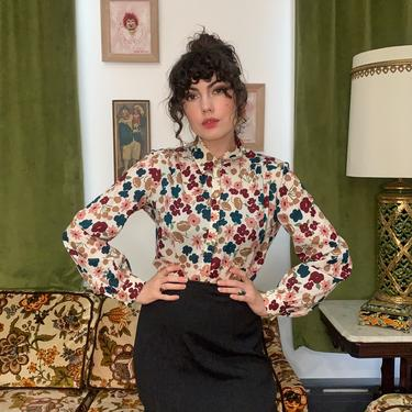 70's FLORAL BLOUSE - large by GlamItToHell
