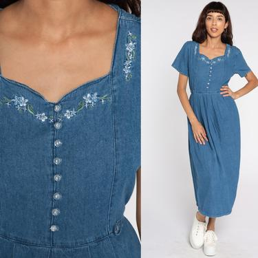 Floral Denim Dress EMBROIDERED 90s Midi Jean Grunge Dress Vintage 1990s Button Up High Waist Granny Short Sleeve Medium by ShopExile