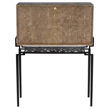 Bauhaus Style Shagreen Secretary Desk on Ebonized Steel Frame by R & Y Augousti