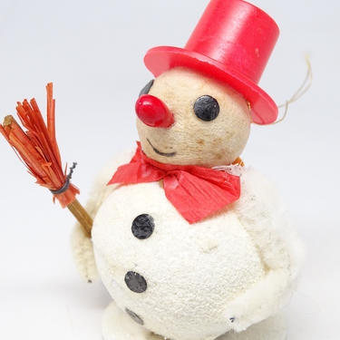 Vintage Spun Cottom Snowman Christmas Ornament, Red Top Hat, Broom, Retro Holiday Decor by exploremag