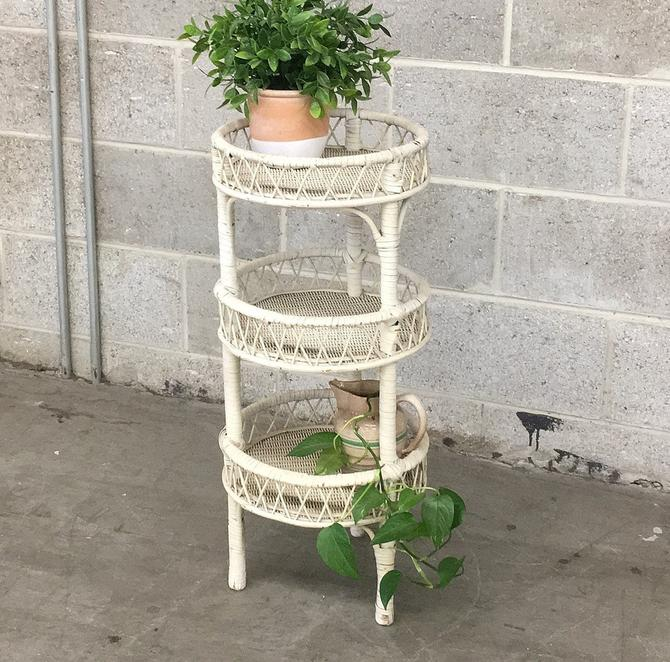 Vintage Wicker Table Retro 1980s White + Woven Straw + 3 Tier + Plant Stand + Cylinder Shaped + Storage and Organization + Home Decor by RetrospectVintage215