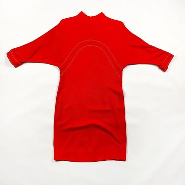 1960s Orange Three Quarter Length Sleeve Shift Dress / 70s / Contrast Stitching / Mod / Mad Men / Solid / Scooter / 70s / M / Fall / by shoptrashdotnet