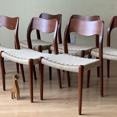 6 Moller Model #71 Dining Side Chairs, in Teak and new Danish Paper Cord by ASISisNOTgoodENOUGH