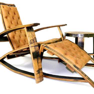 Special Edition J.D. Set - Whiskey Barrel Chair - Leather Lounge Chair - Barrel Furniture by HungarianWorkshop