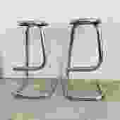 Pair of 1970s Chrome Kinetics Paper Clip Counter Stools