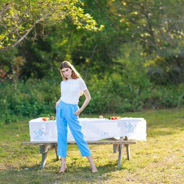 80s Sky Blue Cropped Elastic Pants Vintage Petite Lounge Classic Trousers by AppleBranchesVintage