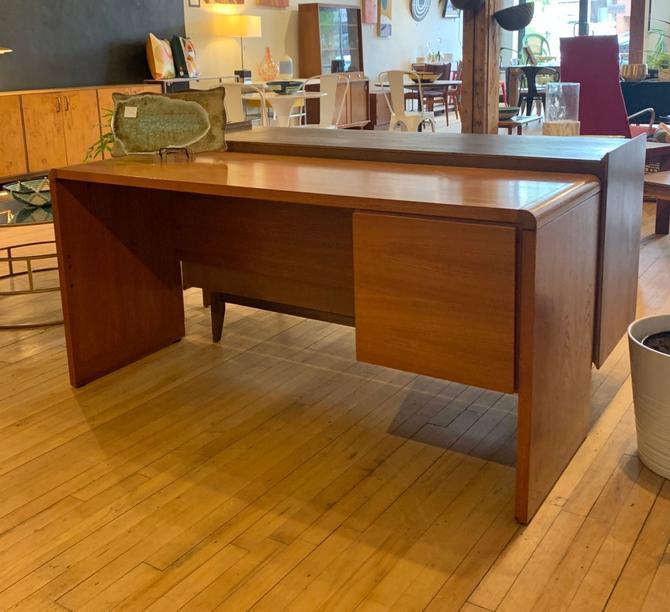 Danish Teak Desk w/ Locking File Cabinet w/ Key