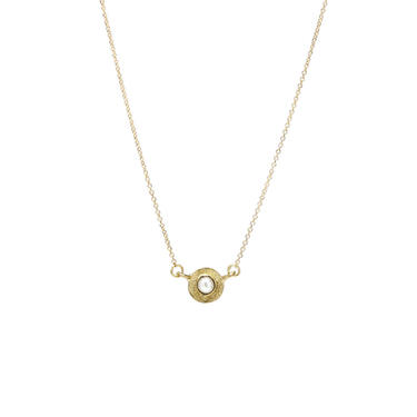 Solid 18K Textured Mini Pearl Neclace