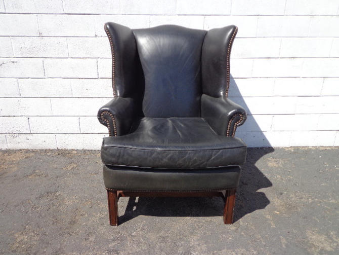 Leather Wingback Chair Black Lounge Armchair Chesterfield Handsome Rustic Chippendale Mid Century English Wingback Lounge Seating Accent by DejaVuDecors