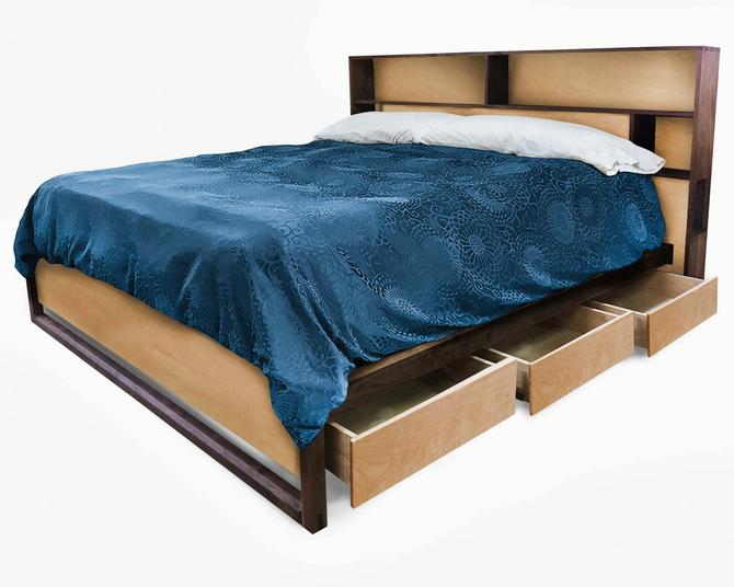 Maple Bed with headboard storage and charging, Bed with drawers, Queen bed, King bed, Underbed storage, Easy assembly, Non-toxic finish by ThisIsUrbanMade