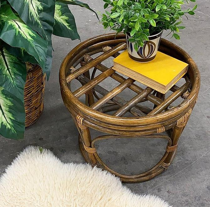 Vintage Plant Stand Retro 1980s Bohemian + Rattan + Ottoman or Stool + Round Shape + Brown + Furniture or Decor + Indoor + Outdoor Seating by RetrospectVintage215