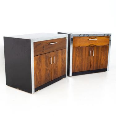 Milo Baughman for John Stuart Mid Century Rosewood and Chrome Nightstands - A Pair - mcm by ModernHill