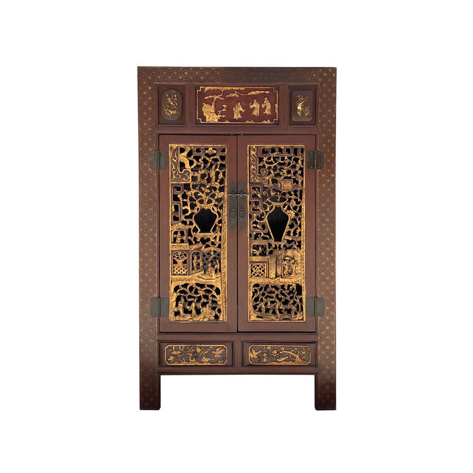 Chinese Fujian Brick Red Golden Carving Graphic Armoire Storage Cabinet cs6089E by GoldenLotusAntiques