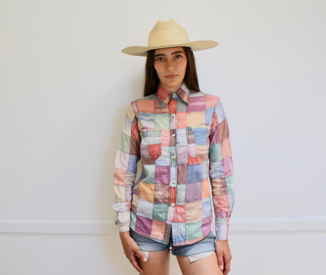 3b9753bf2d093 Indian Patchwork Blouse // vintage 70s boho cotton dress India hand hippie  rainbow madras 1970s hippy // S Small by FenixVintage