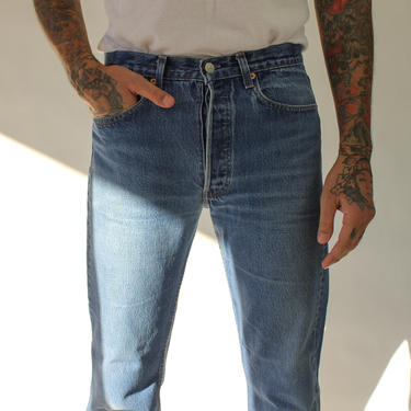 Vintage 80s 90s LEVIS 501 Whiskered Medium Wash Distressed Button Fly Jeans | Made in USA | Size 31 | 1980s 1990s LEVIS Indigo Denim Pants by TheVault1969