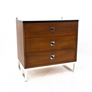 George Nelson Style Thomasville Mid Century Walnut Chrome and Black Formica 3 Drawer Chest - mcm by ModernHill