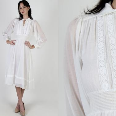 Vintage 70s White Prairie Dress Sheer Floral Lace Puff Sleeve Smocked Midi Mini Dress by americanarchive