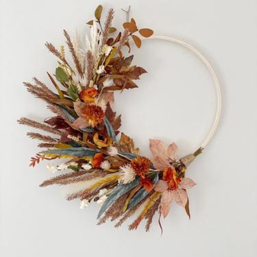 Modern Fall Colors Wreath, Brown and Burnt Orange Fall Neutral minimalist Boho dried flower wreath, Boho flower arrangement by NovaWreaths