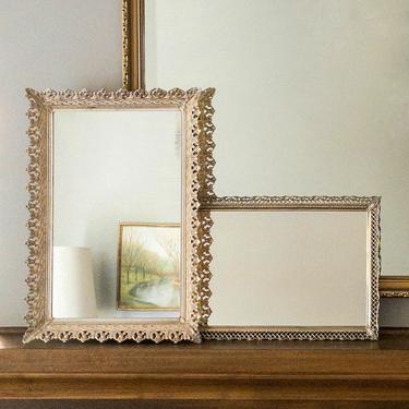 Vintage Mirrored Vanity Trays, Ornate Mirror, Wall Mirrors, Ornate Gold-tone Filigree Tray, Perfume Tray, Hollywood Regency Decor by PebbleCreekGoods