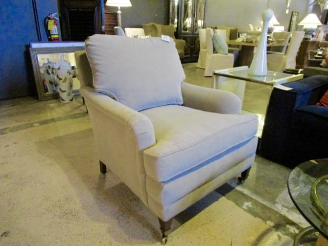 NEW PAIR OF HANCOCK AND MOORE  TAUPE VELVET CLUB CHAIRS PRICED SEPERATLEY