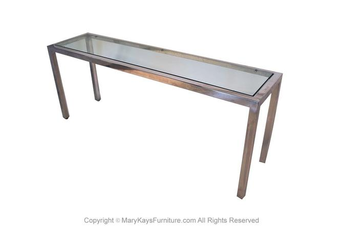 Milo Baughman Chrome Glass Console Table Mid Century Modern by Marykaysfurniture