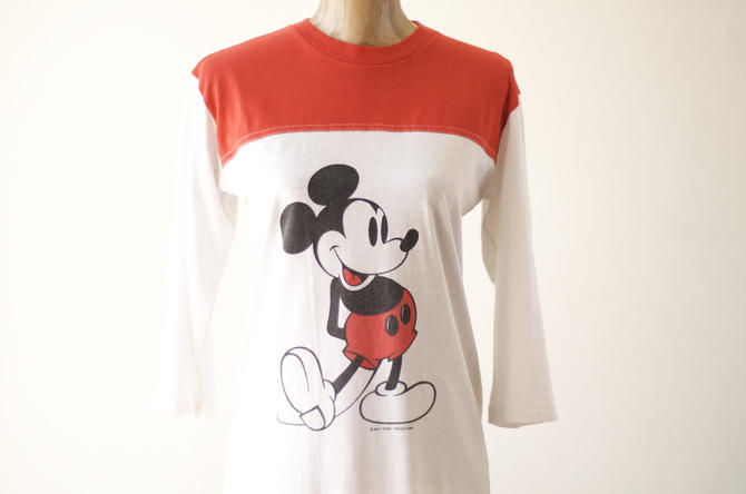 70s 80s Vintage MICKEY MOUSE T-Shirt by Walt Disney Productions Single Stitch Size S or M 3/4 Sleeves Red & White Jersey Raglan Unisex Shirt by MOBIUSMOD