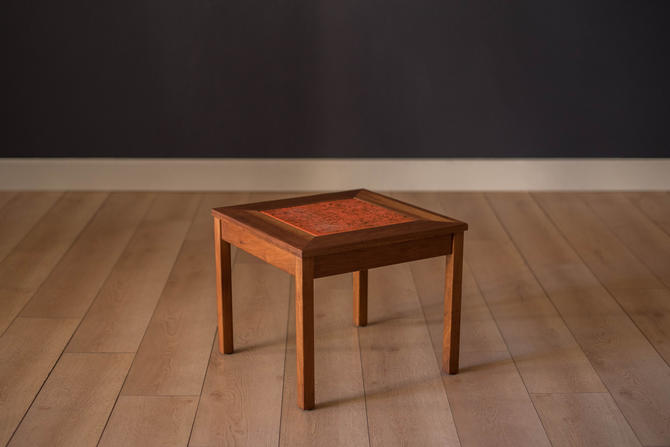 Mid Century Brown Saltman Walnut and Copper Enamel End Table by John Keal by MidcenturyMaddist