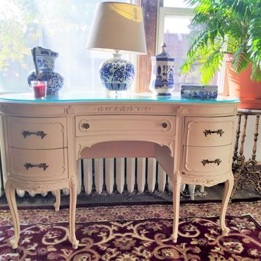 VINTAGE Desk, French, Louis XVI Style, Kidney Shape Antique Desk, Shabby Chic, Victorian Home Decor by 3GirlsAntiques