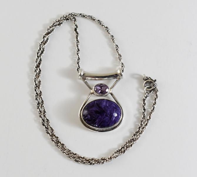 Vintage Sajen sterling charoite amethyst affixed pendant, edgy 925 silver purple oval gems geometric Bali necklace by BetseysBeauties