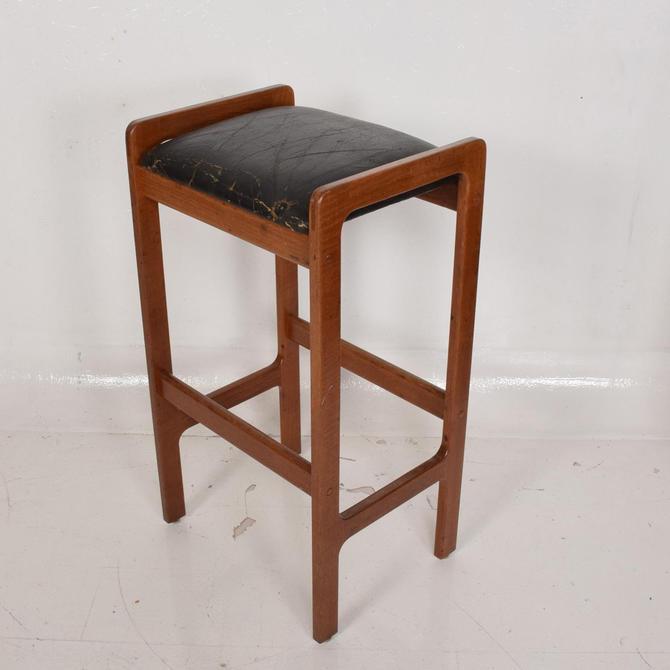 Danish Modern Teak Bar Stool with Leather Seat by AMBIANIC
