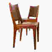 Pair of Danish Teak Brown Upholstered Side Chairs