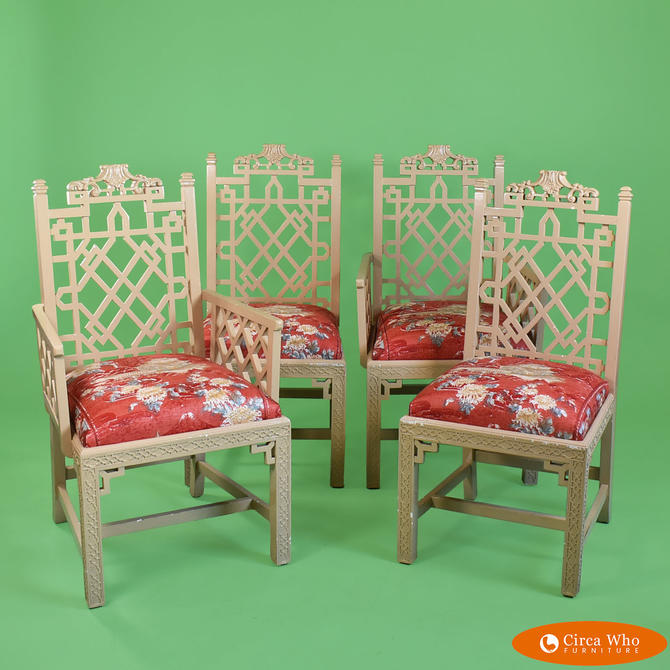Set of 4 Fretwork Pagoda Dining Chairs