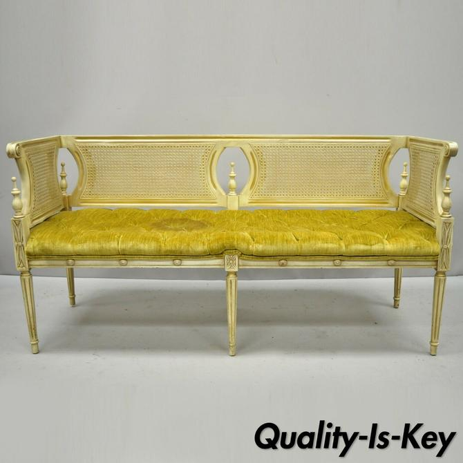 Vintage French Provincial Louis XVI Style Cane Back Cream & Gold Bench Settee